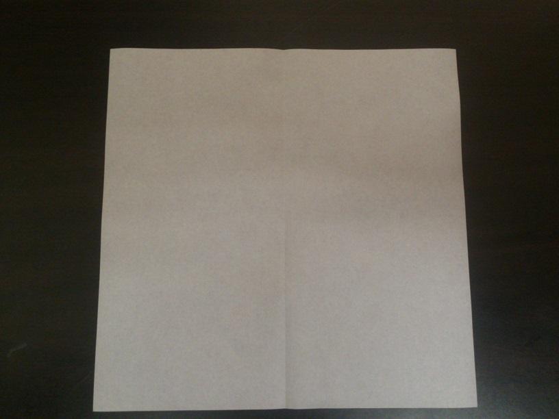 すべての折り紙 折り紙 ちょうちんの折り方 : まず四角に半分に折ります。