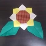 折り紙のひまわりの折り方!葉っぱをつけても簡単にできた!