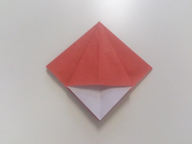 すべての折り紙 折り紙 カエル リアル : 四角の角を立ててから、潰して ...