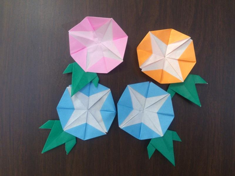 朝顔の折り紙の折り方!あさが ... : 紙で作る工作 : すべての講義