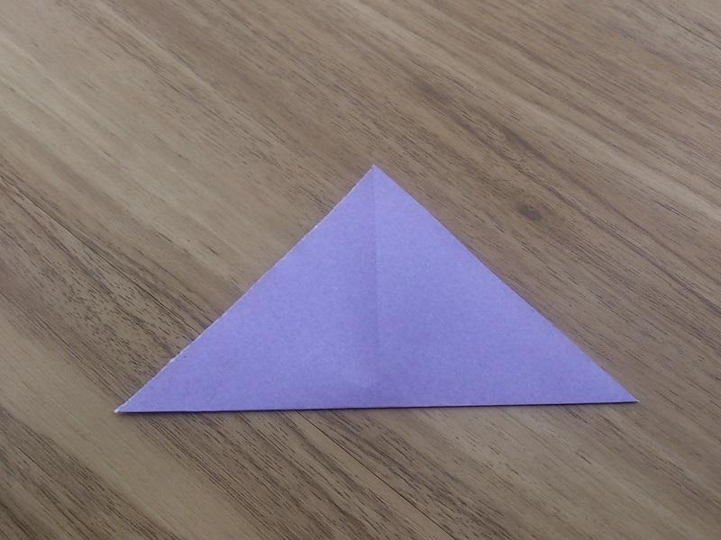 すべての折り紙 折り紙 花 コスモス : 一度開いて反対も三角に折り目 ...